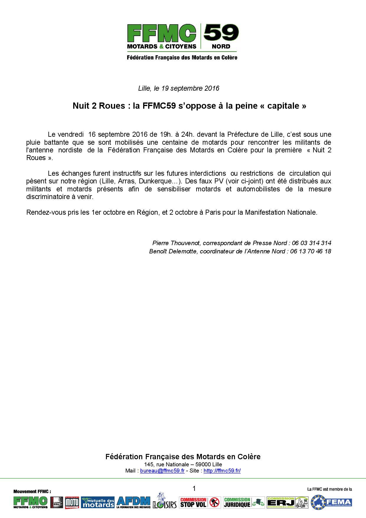 FFMC59_1er Octobre 2016_Communiqué de Presse FFMC59 Nuit 2 Roues Lille